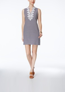 Charter Club Petite Embroidered Striped Shift Dress, Only at Macy's