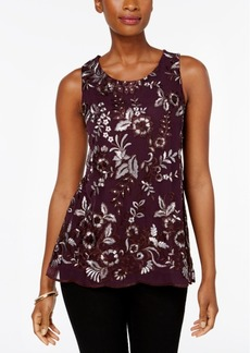 Charter Club Petite Embroidered Top, Created for Macy's