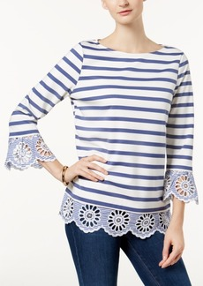 Charter Club Petite Eyelet-Trim Top, Created for Macy's