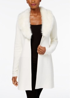 Charter Club Petite Faux-Fur-Collar Cardigan, Created for Macy's