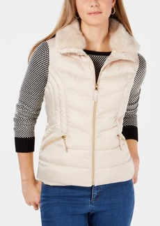 Charter Club Petite Faux-Fur-Collar Puffer Vest, Created for Macy's