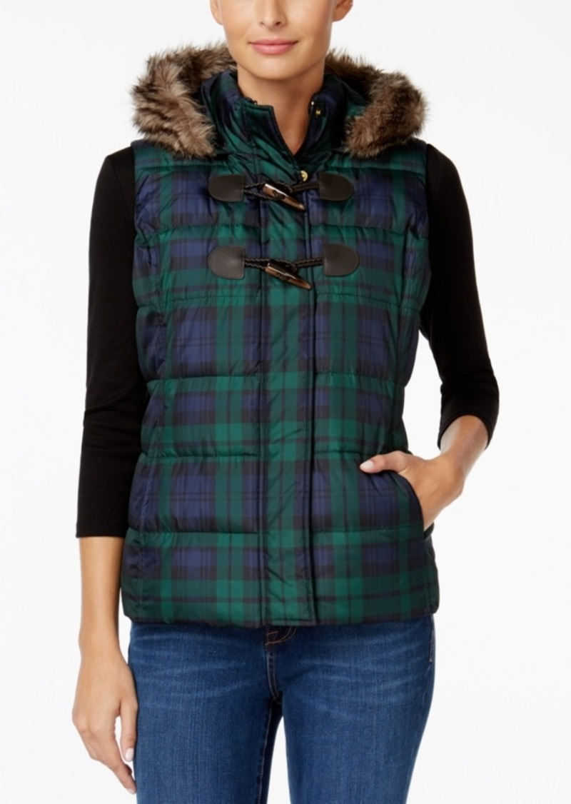 Charter Club Faux-Fur-Trim Plaid Puffer Vest, Only at Macy's