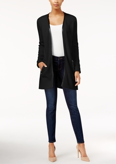 Charter Club Petite Faux Leather-Trim Cardigan, Only at Macy's