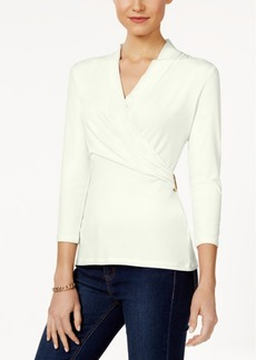 Charter Club Petite Faux-Wrap Top, Only at Macy's