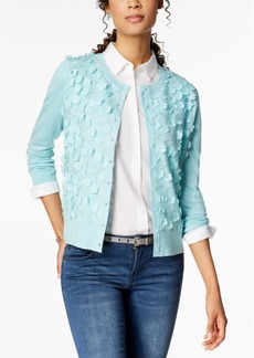 Charter Club Petite Floral-Applique Cardigan, Created for Macy's