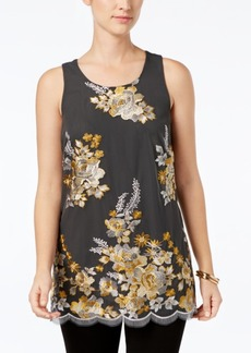 Charter Club Petite Floral-Embroidered Top, Created for Macy's