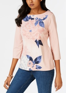 Charter Club Petite Floral-Print Button-Trim Top, Created for Macy's