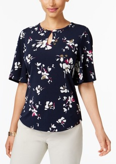 Charter Club Petite Floral-Print Keyhole Top, Created for Macy's