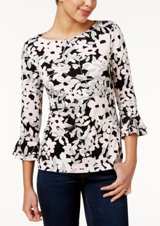 Charter Club Petite Floral-Print Ruffle-Sleeve Top, Only at Macy's