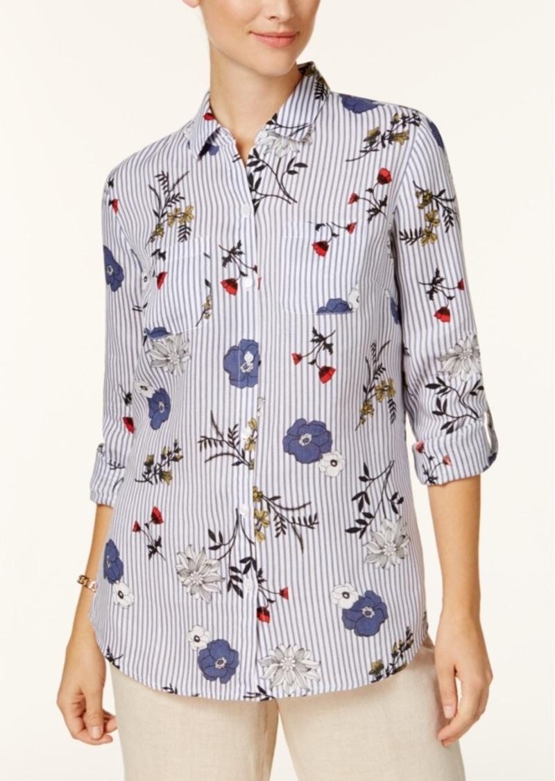 1ead1f4a Charter Club Charter Club Petite Floral-Print Striped Shirt, Created ...