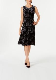 Charter Club Petite Floral-Print Velvet Dress, Created for Macy's