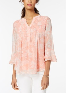Charter Club Petite Floral Ruffle-Sleeve Split Neck Top, Created for Macy's