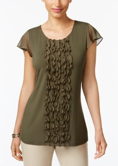 Charter Club Petite Flutter-Sleeve Ruffled Top, Created for Macy's