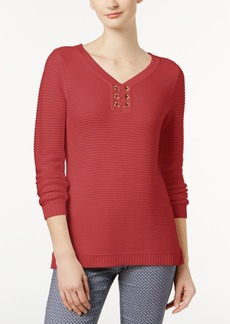 Charter Club Petite Grommet Sweater, Created for Macy's
