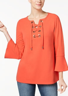 Charter Club Petite Grommet-Trim Bell-Sleeve Top, Created for Macy's