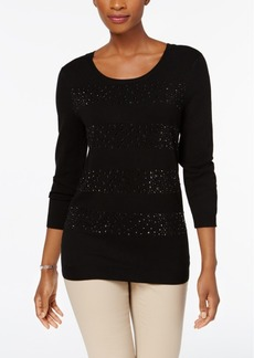 Charter Club Petite Jeweled Stripe Sweater, Created for Macy's