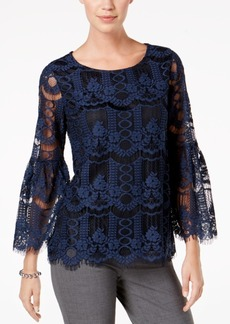 Charter Club Petite Lace Bell-Sleeve Top, Created for Macy's