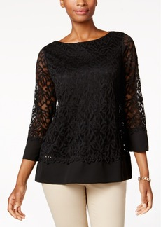 Charter Club Petite Lace Boat-Neck Top, Created for Macy's