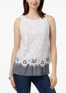 Charter Club Petite Lace Gingham-Hem Top, Created for Macy's