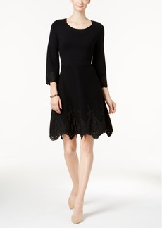Charter Club Petite Lace-Hem Fit & Flare Dress, Created for Macy's