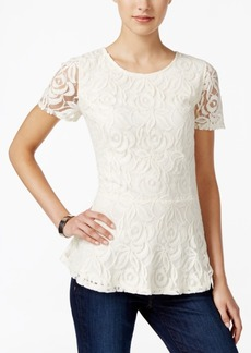 Charter Club Petite Lace Peplum Top, Only at Macy's