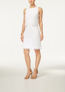 Charter Club Petite Lace Popover Sheath Dress, Created for Macy's