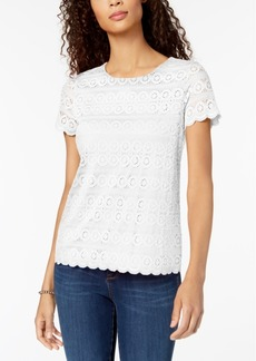 Charter Club Petite Lace Scalloped-Hem Top, Created for Macy's