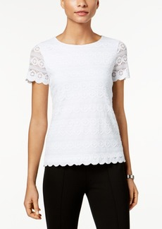 Charter Club Petite Lace Short-Sleeve Top, Created for Macy's