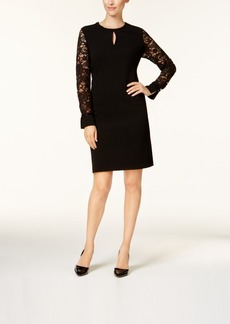 Charter Club Petite Lace-Sleeve Keyhole Dress, Created for Macy's