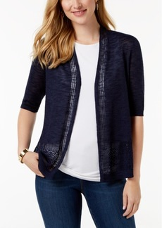Charter Club Petite Lace-Trim Open-Front Cardigan, Created for Macy's