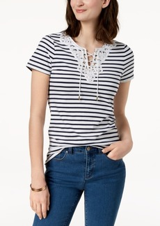 Charter Club Petite Lace-Trim T-Shirt, Created for Macy's