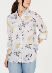 Charter Club Plus Size Linen Mixed-Print 3/4-Sleeve Blouse, Created for Macy's