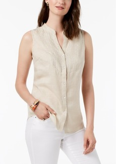 Charter Club Petite Linen Sleeveless Shirt
