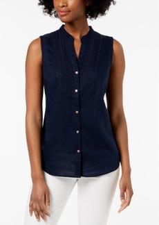 Charter Club Petite Linen Sleeveless Shirt