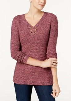Charter Club Petite Marled Grommet Sweater, Created for Macy's