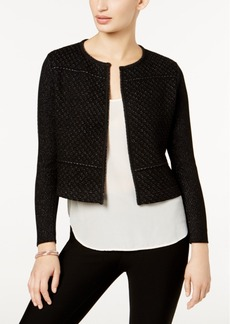 Charter Club Petite Metallic-Knit Cropped Jacket, Created for Macy's