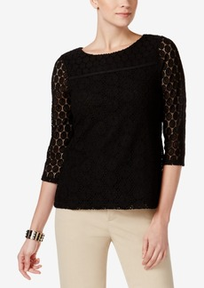 Charter Club Petite Mixed-Lace Top, Created for Macy's