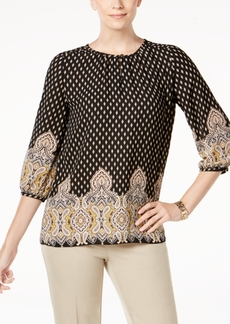Charter Club Petite Mixed-Print Blouse, Created for Macy's