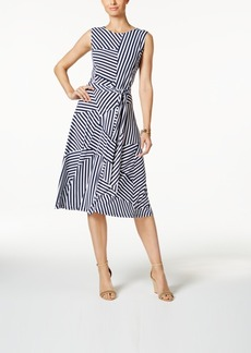 Charter Club Petite Mixed-Stripe Belted Fit & Flare Dress, Created for Macy's