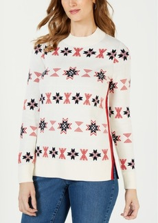 Charter Club Petite Mock-Neck Snowflake Sweater, Created for Macy's