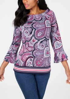 Charter Club Petite Paisley Bell-Sleeve Top, Created for Macy's