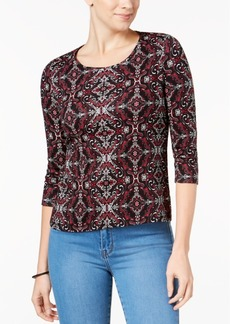 Charter Club Petite Pima Cotton Printed Top, Created for Macy's