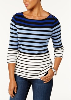 Charter Club Petite Pima Cotton Striped Top, Created for Macy's