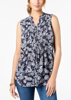 Charter Club Petite Pintuck-Pleated Sleeveless Top, Created for Macy's