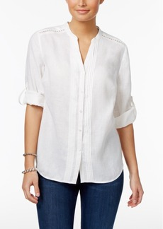 Charter Club Linen Split-Neck Shirt, Only at Macy's