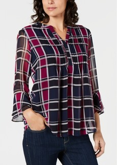 Charter Club Petite Plaid Blouse, Created for Macy's