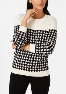 Charter Club Petite Plaid Houndstooth Sweater, Created for Macy's