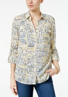 Charter Club Petite Plaid Roll-Tab Shirt, Created for Macy's