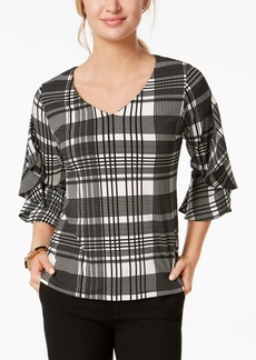 Charter Club Petite Plaid Ruffle-Sleeve Top, Created for Macy's