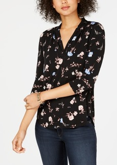 Charter Club Petite Pleat-Neck Floral-Print Top, Created for Macy's